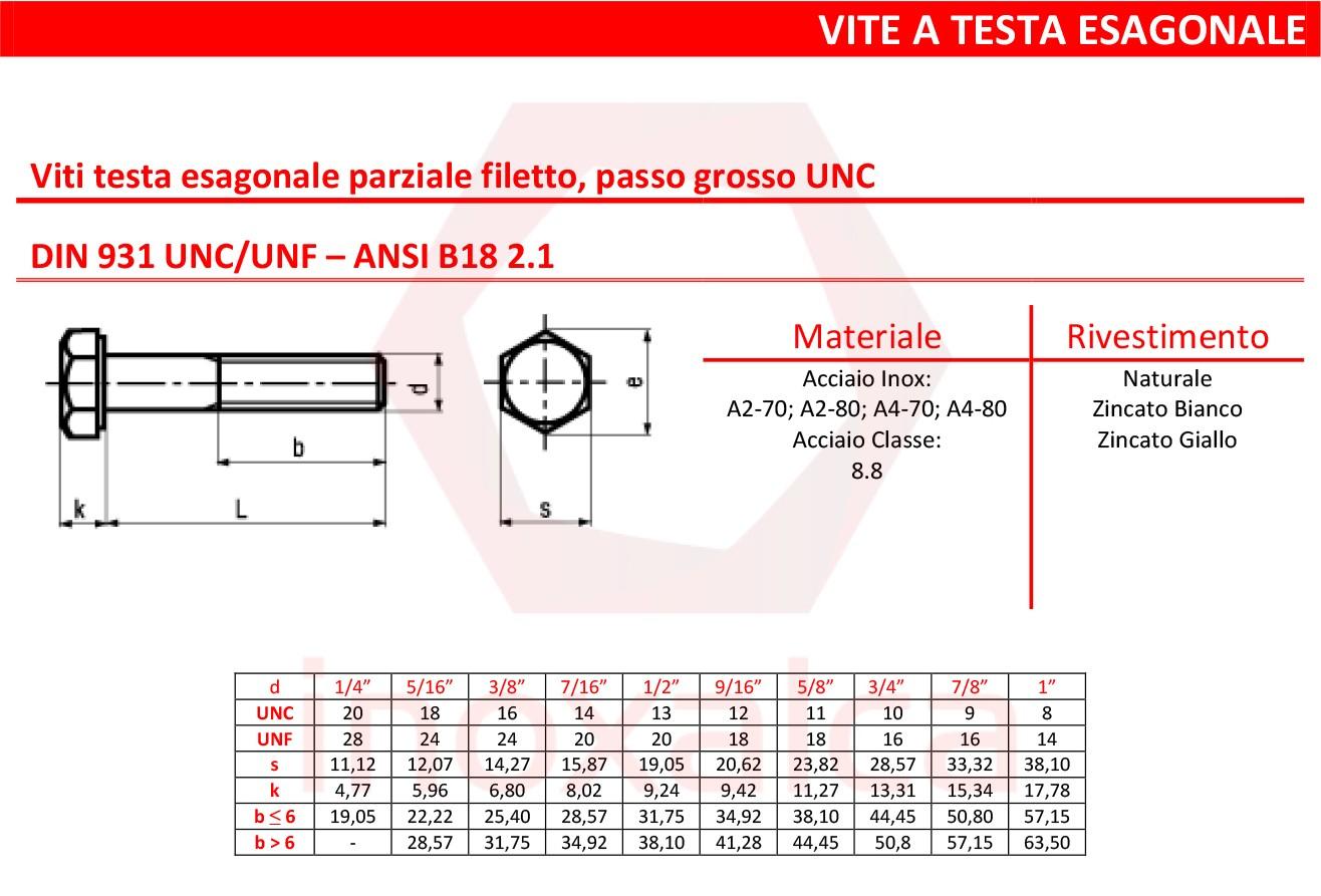 """1//4/"""" 1//2/"""" UNF Completo Dado Esagonale A2 ACCIAIO INOX"""